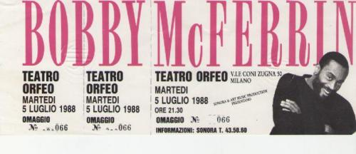 Bobby Mc Ferrin 5 luglio 1988 Milano Teatro Orfeo