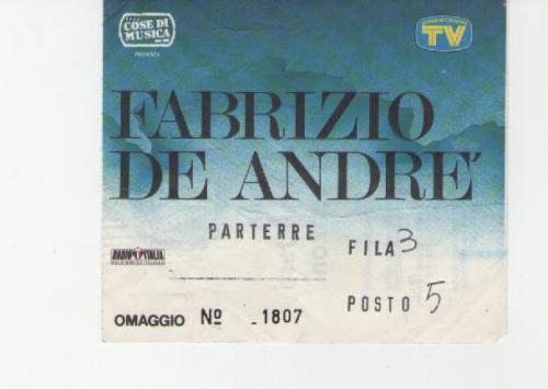 Fabrizio De Andrè1991 tour le nuvole località varie