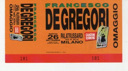 Francesco De Gregori 1992 località varie